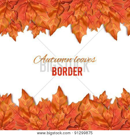Autumn leaves seamless border. Texture for wallpaper, web site background, brochure, catalog, flyer,