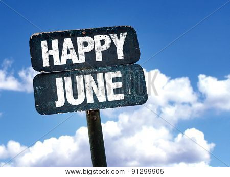 Happy June sign with sky background
