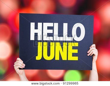 Hello June card with bokeh background
