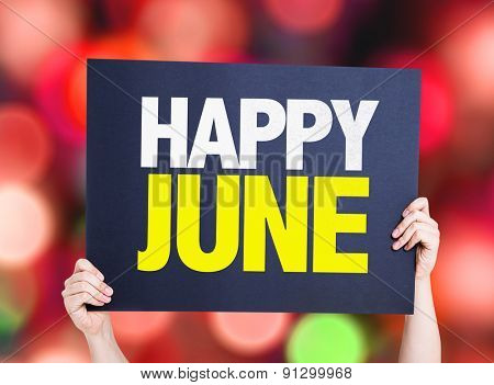 Happy June card with bokeh background