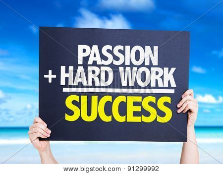Passion + Hard Work = Success card with beach background