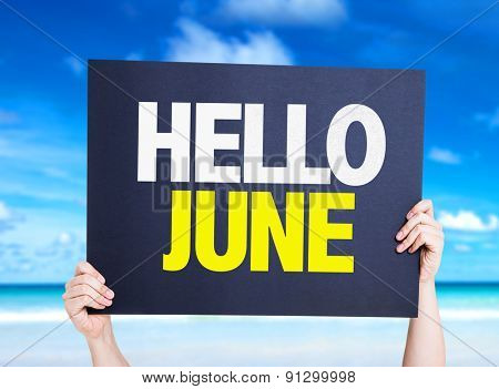 Hello June card with beach background
