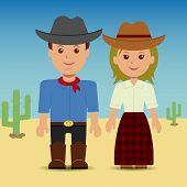 picture of cowgirl  - Cowboy and cowgirl - JPG