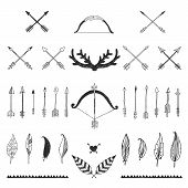 pic of bow arrow  - Hand drawn tribal collection with bow and arrows - JPG