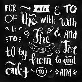 stock photo of ampersand  - Vector hand drawn ampersands and catchwords on chalkboard - JPG