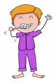 pic of pajamas  - Closeup man in his pajamas brushing teeth - JPG