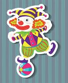 stock photo of jestering  - Closeup silly jester standing on a ball - JPG
