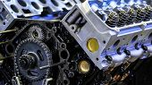 pic of rebuilt  - Macro view of new rebuilt truck engine shallow DOF - JPG