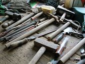 picture of carpentry  - carpentry work tools on a wooden table  - JPG