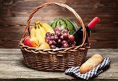 picture of wooden basket  - Basket full of fresh fruit - JPG