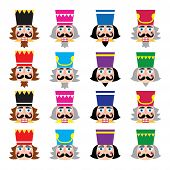 picture of nutcracker  - Vector icons set of Xmas nutcrackers heads isolated on white - JPG