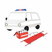 foto of emergency treatment  - Medical Concept Illustration of Ambulance and First Aid Box Filled with Medical Supplies for Emergencies Isolated on A White Background - JPG