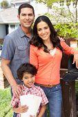 pic of mailbox  - Hispanic Family Checking Mailbox - JPG
