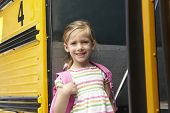 image of pupils  - Elementary School Pupil Board Bus - JPG