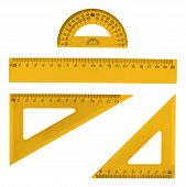 foto of protractor  - Set of multiple orange plastic rulers and the protractor - JPG