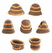 picture of knitted cap  - Brown knitted head cap with the orange stripes - JPG