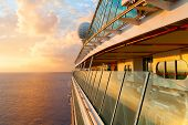 image of cruise ship caribbean  - Sunset from the open deck of luxury cruise ship - JPG