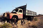 image of truck farm  - Rusty Abandoned Truck on the Desert - JPG