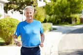 picture of 70-year-old  - Elderly man jogging - JPG