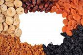 image of prunes  - Frame of various dried fruits  - JPG