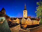 stock photo of nicholas  - Evening View of Old Town and Saint Nicholas  - JPG