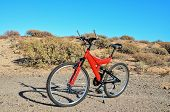 foto of suspension  - Modern Red Full Suspension Mountain Bike MTB Bicycle - JPG