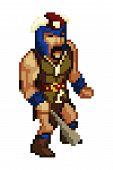 image of pixel  - Pixel style game character viking warrior pixel art - JPG