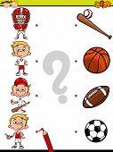 pic of brain teaser  - Cartoon Illustration of Education Element Matching Game for Preschool Children with Sport Equipment - JPG