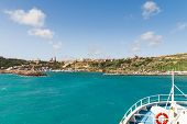 stock photo of gozo  - Sailing to port of Mgarr on the small island of Gozo Malta.