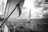 picture of yachts  - Sailing yachts in the sea in stormy weather - JPG