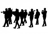 pic of wind instrument  - Men walking with a brass instrument - JPG