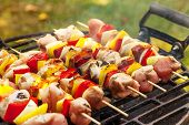 picture of barbecue grill  - Grilling shashlik on barbecue grill - JPG