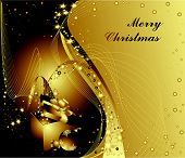 stock photo of welts  - Gold and black Merry Christmas background with stars - JPG