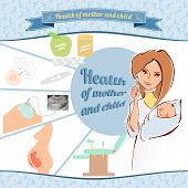 picture of zygote  - Vector illustration of a female doctor with a newborn baby - JPG