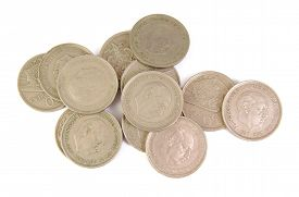 image of spanish money  - Bunch of old Spanish coins of 50 pesetas showing Franco dictator face on white background - JPG
