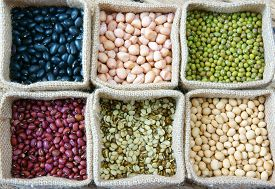 image of soybeans  - Collection of grain green bean red bean soybean black bean in bag cereal product is healthy food nutrition eating and fibre food - JPG