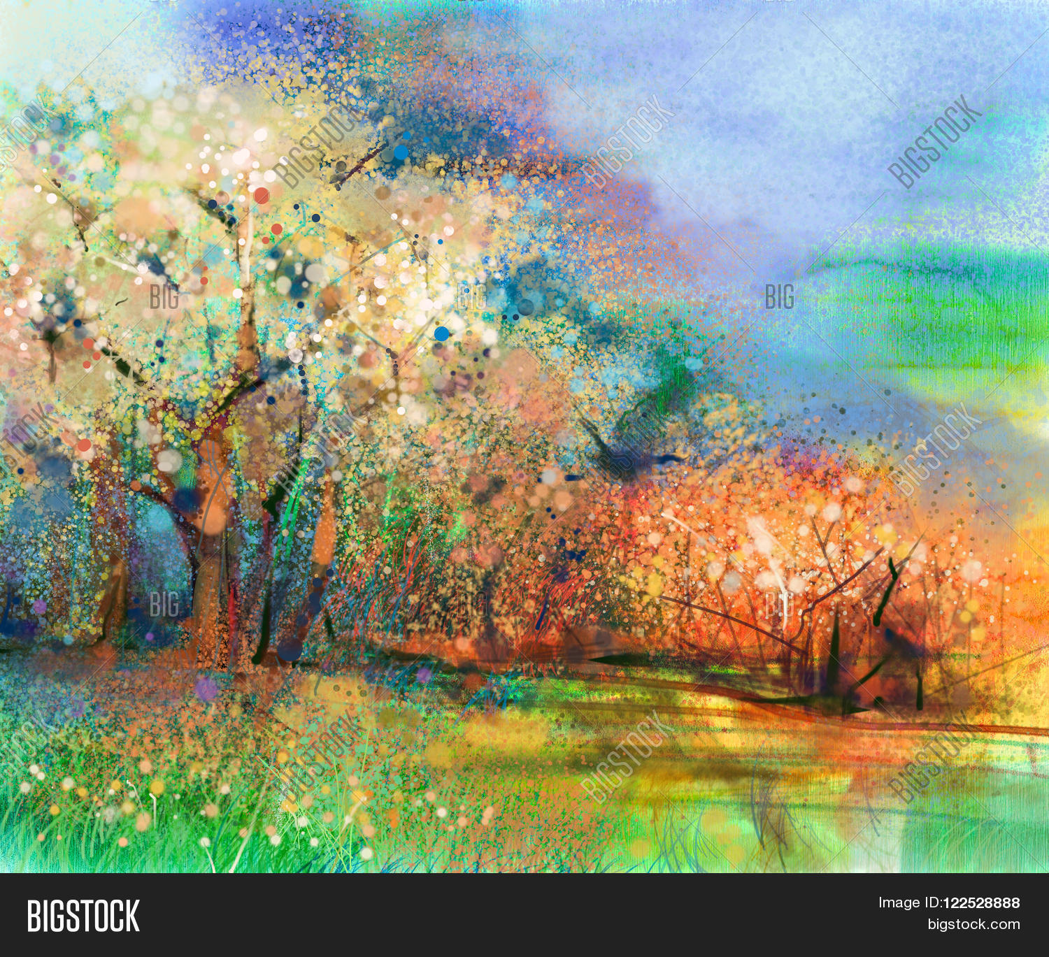 Abstract colorful landscape painting. Oil painting mix watercolor ...