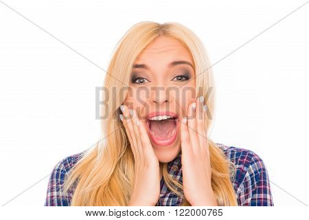 Surprised Happy Girl Touching Her Face And Screaming
