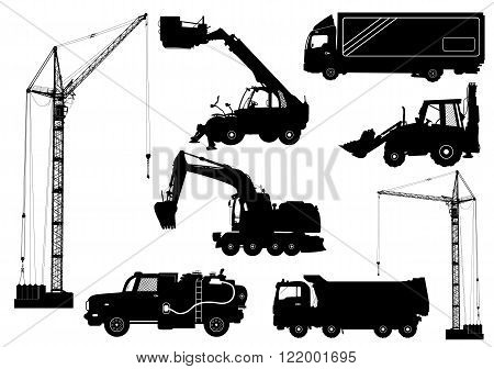 Construction equipment: trucks excavator bulldozer elevator cranes. Detailed silhouettes of construction machines isolated on white. Vector illustration
