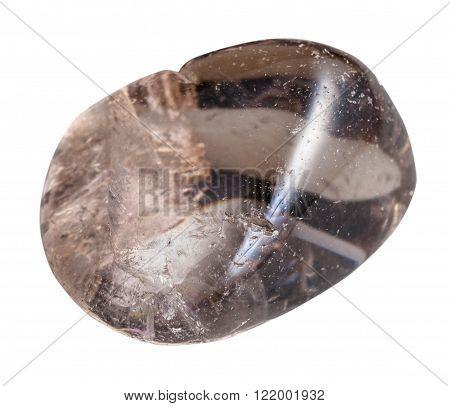 macro shooting of natural gemstone - polished smoky quartz (Morion) mineral gem stone isolated on white background