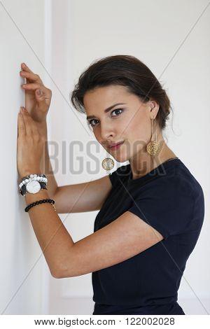 Portrait of a beautiful brunette in studio