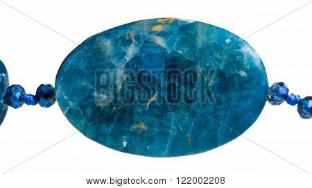 bead from kyanite gem stone close up isolated on white background