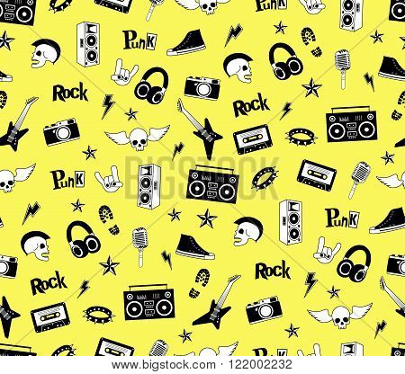 Seamless pattern. Punk rock music isolated on yellow background. Doodle style elements, emblems, bad