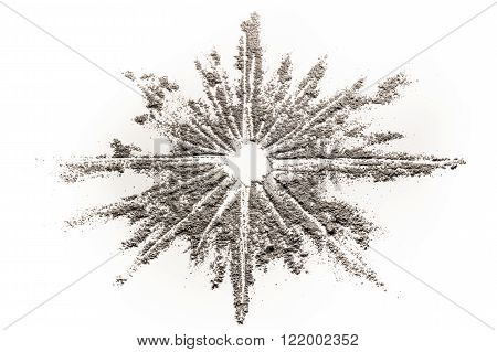Star explosion in stardust illustration made in grey dust