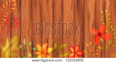 A digitally created wooden plank background texture with plants and flowers.