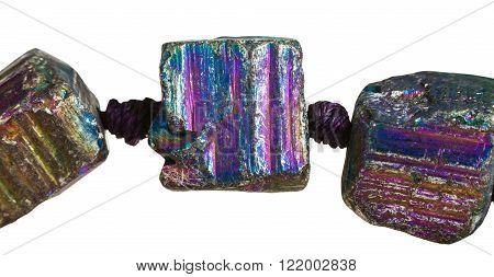 Beads From Rainbow Pyrite Gemstone Close Up