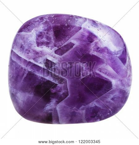 macro shooting of natural gemstone - polished Amethyst mineral gem stone isolated on white background