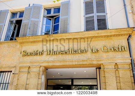 MARSEILLE FRANCE - JUL 18 2014: Headquarter of Societe Marseillaise de Credit bank in the center of the old city of Aix
