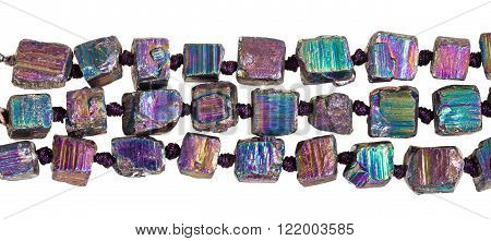 Strings Of Beads From Iridescent Pyrite Gem Stone