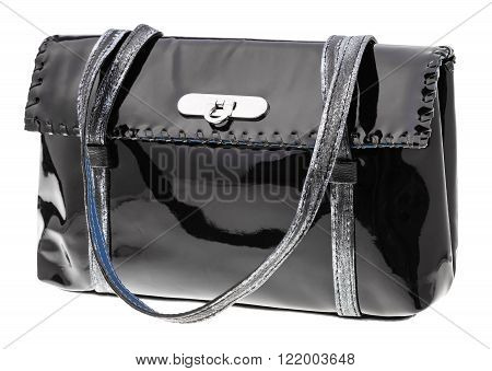 Female Handbag From Black Patent Leather